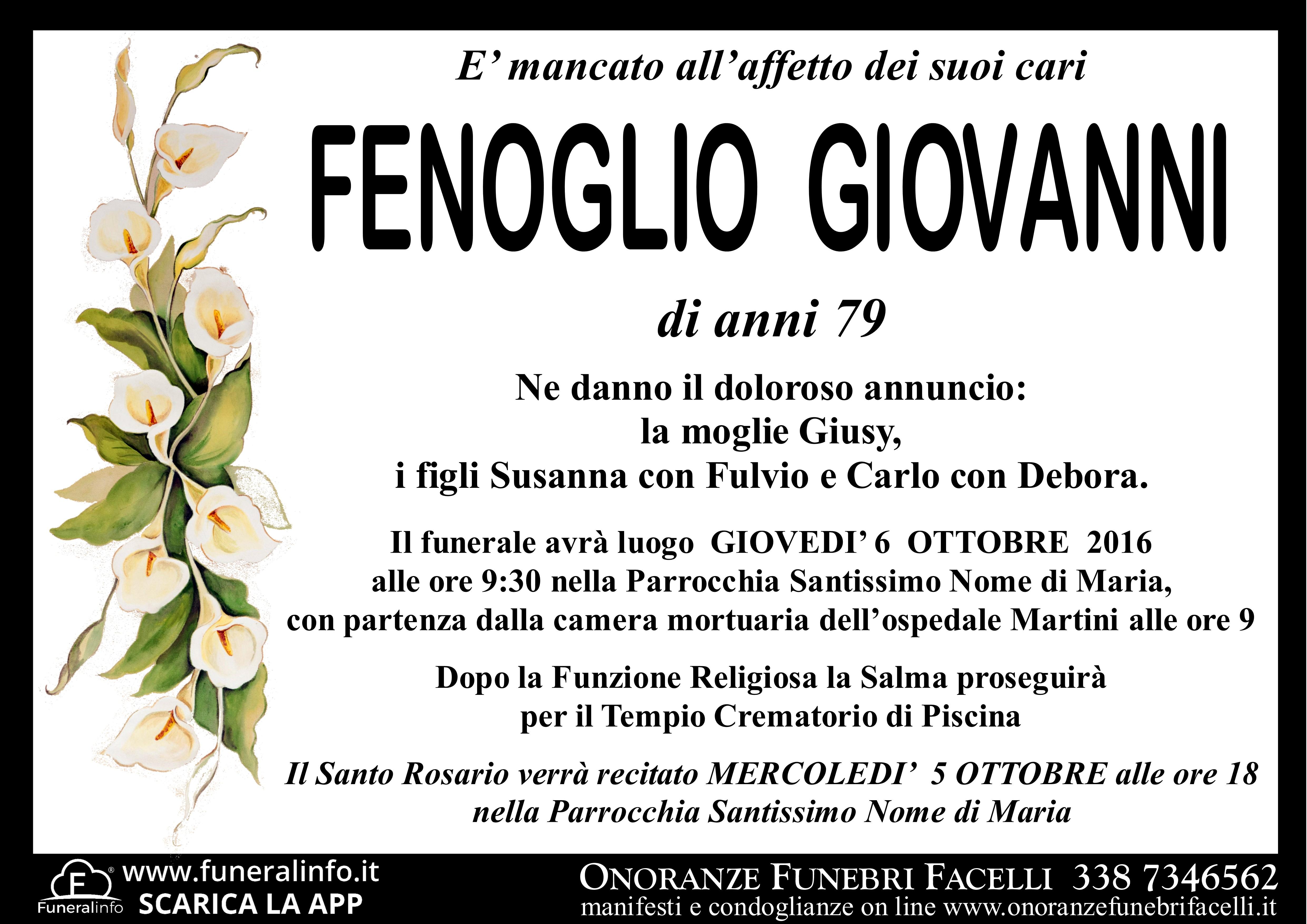 Ben noto FENOGLIO GIOVANNI - Onoranze Funebri Facelli ZC18
