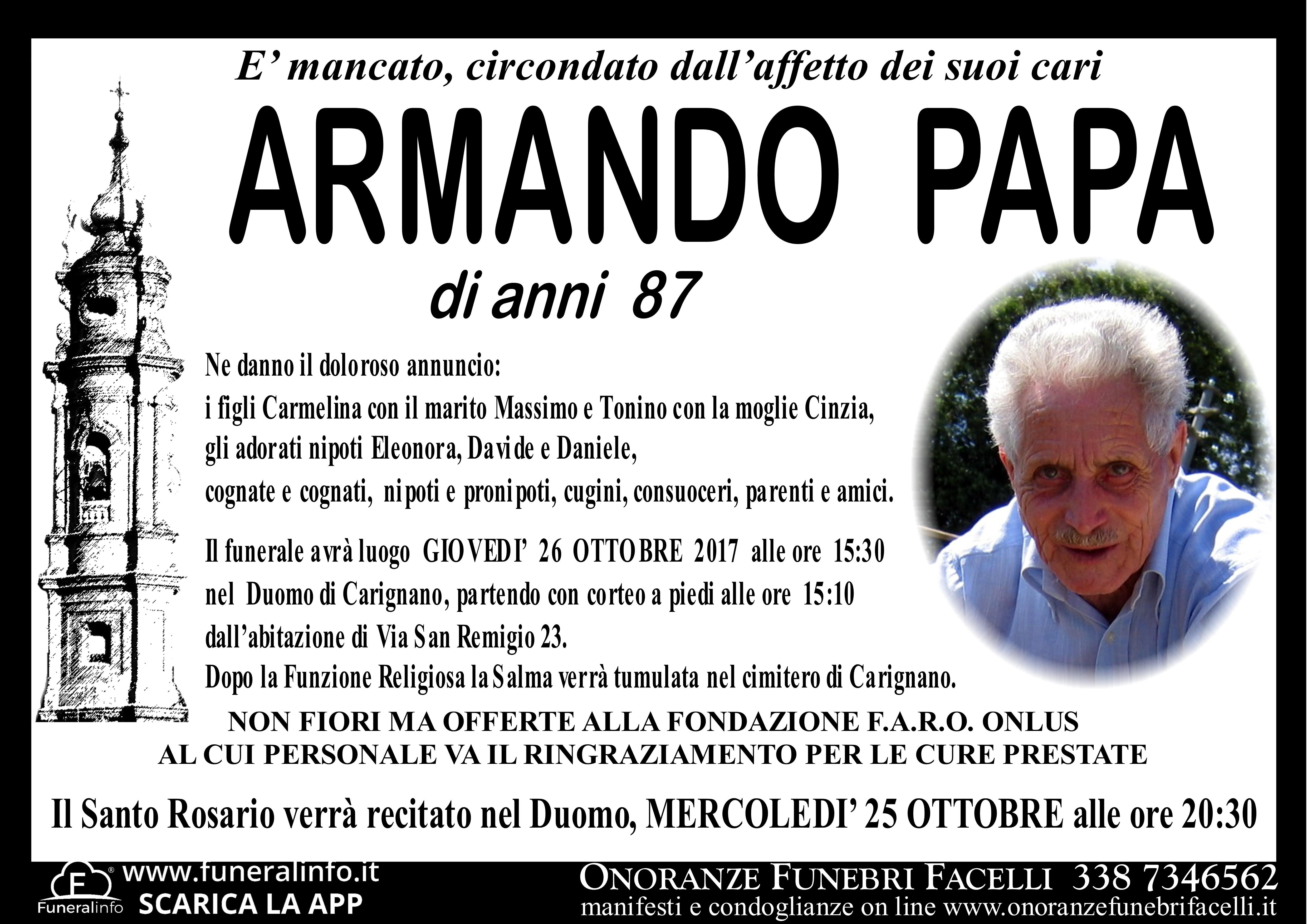 Famoso PAPA ARMANDO - Onoranze Funebri Facelli YK17